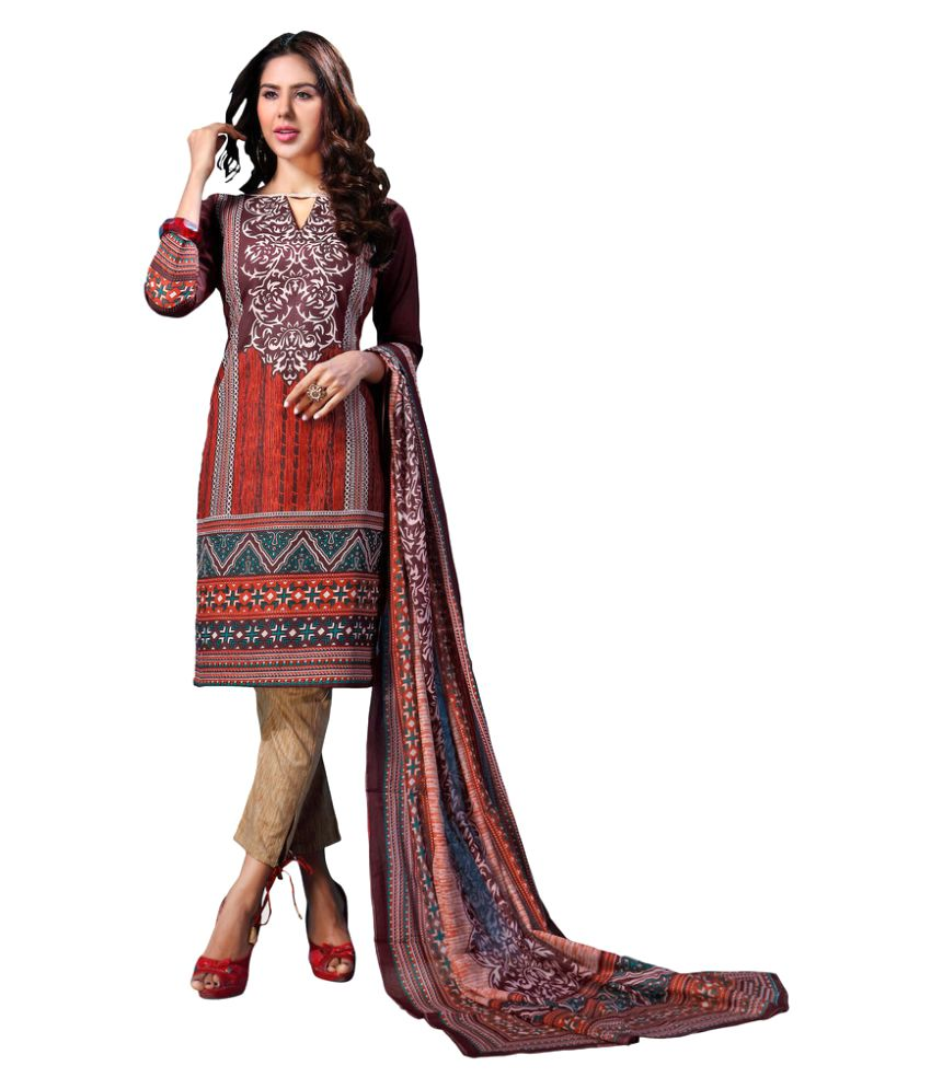 Sonal Trendz Multicoloured Cotton Dress Material
