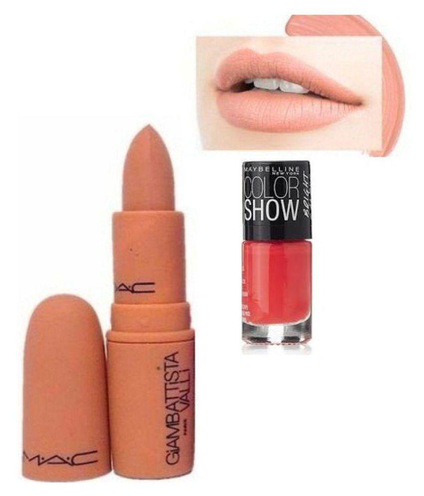 Mac Angel Lipstick Matte Finish Maybelline Orange nailpolish 3 gm ...