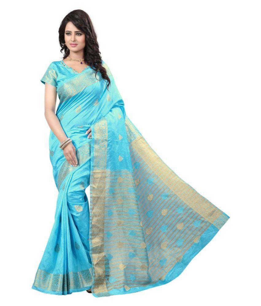KAD Creations Blue Banarasi Silk Saree