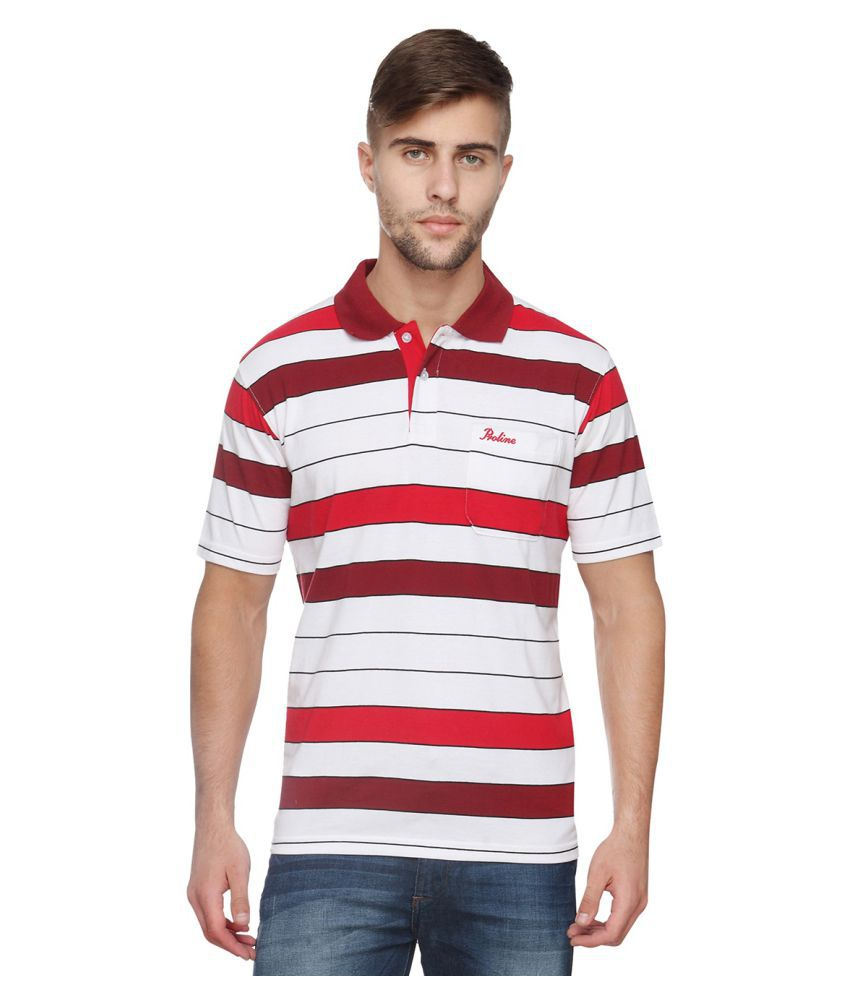 Proline Red Cotton Blend Polo T-shirt