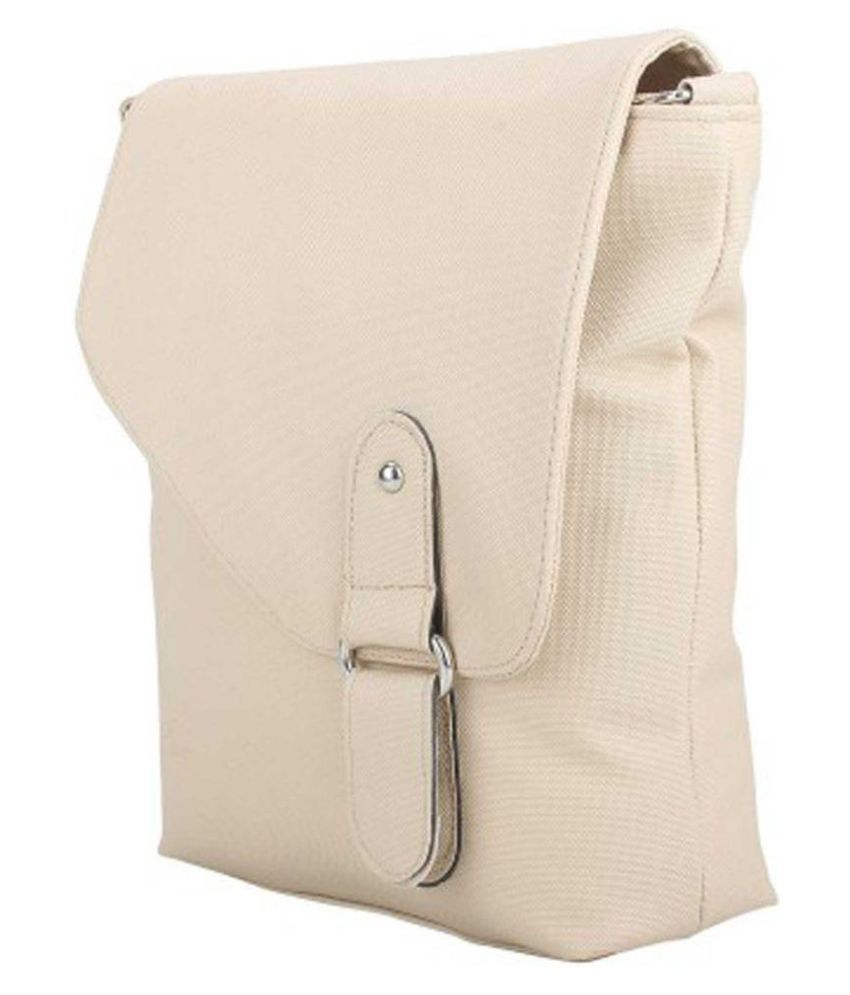 Cottage Accessories White P.U. Sling Bag
