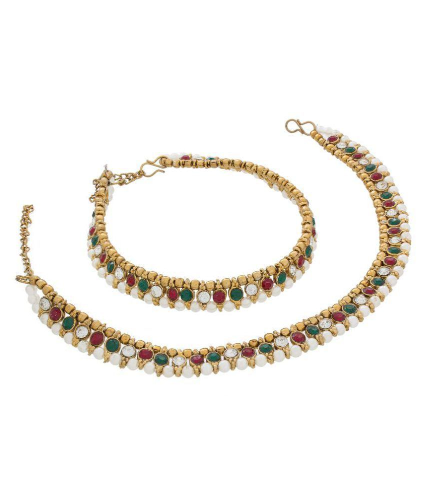Luxor Colour Spark Golden Pearl Studded Pair Of Anklets