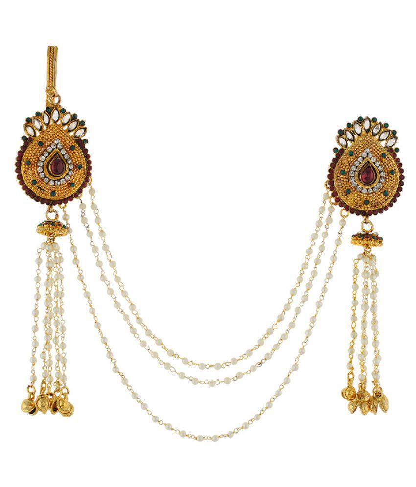 2525648c2 Vama Fashions Multi Color American Diamond Stone & Pearl Traditional Chain  Saree Double Juda Waist Challa ...