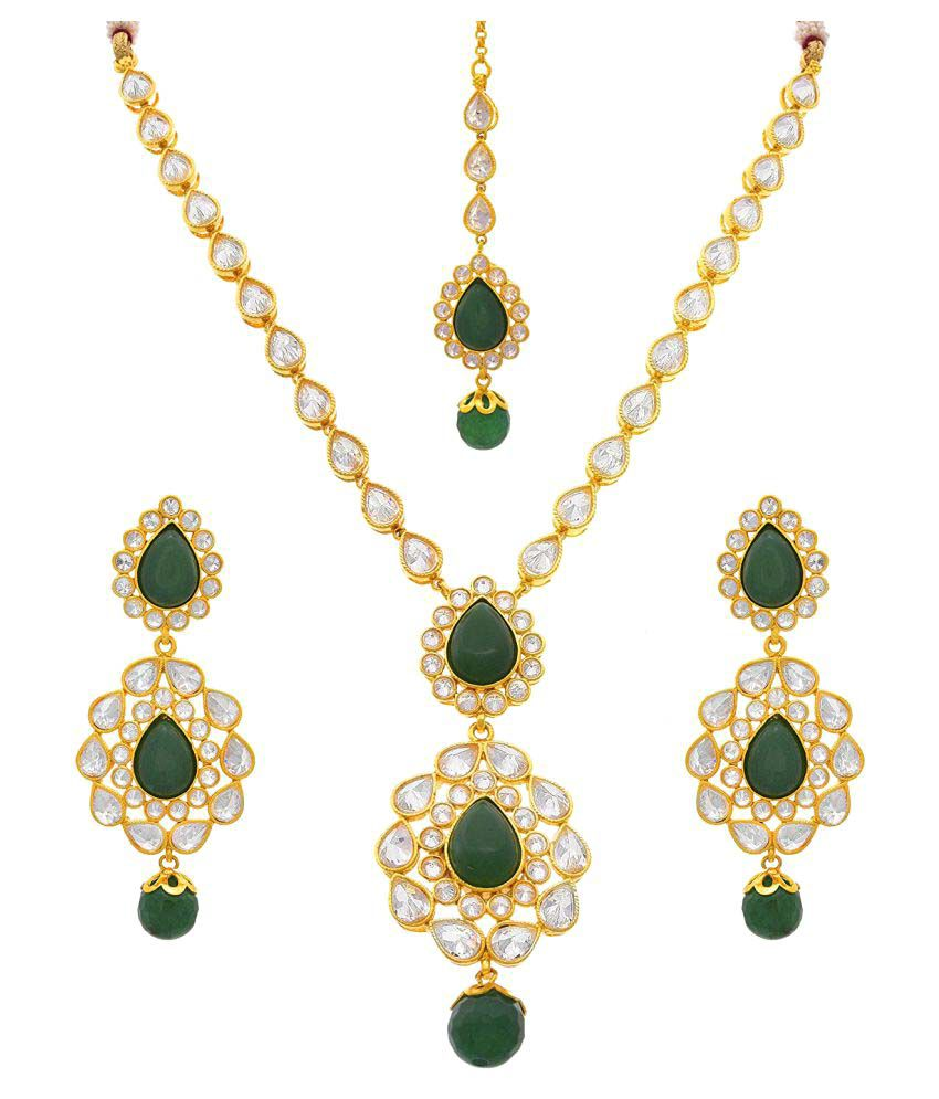 fa760abe110 JFL - Jewellery For Less Traditional Ethnic One Gram Gold Plated Cz  American Diamond Designer Necklace Set with Earring & Maang Tikka for Women  & ...