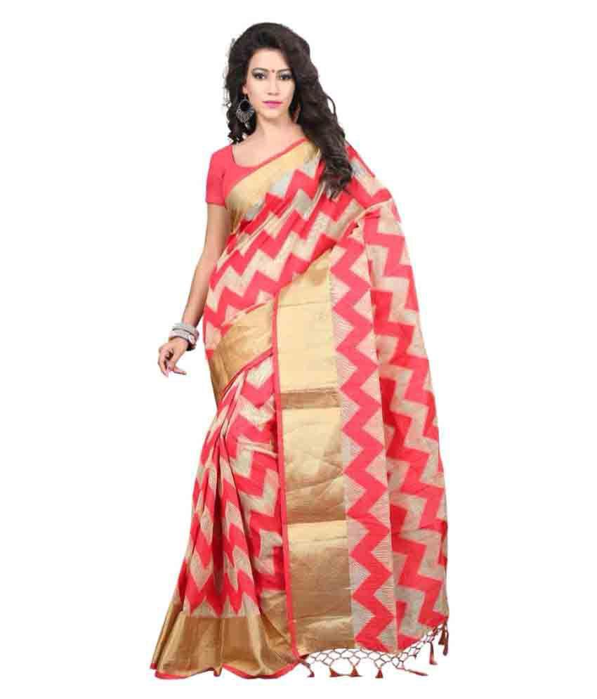 Laxmi Fashion Red and Beige Tussar Silk Saree