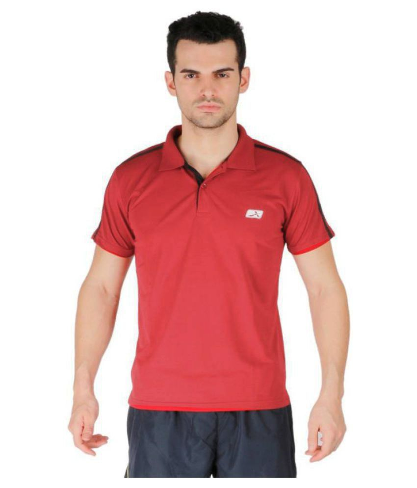 Vector X Solid Men's Polo Neck Red T-Shirt