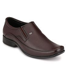 R M Shoes Brown Office Genuine Leather Formal Shoes