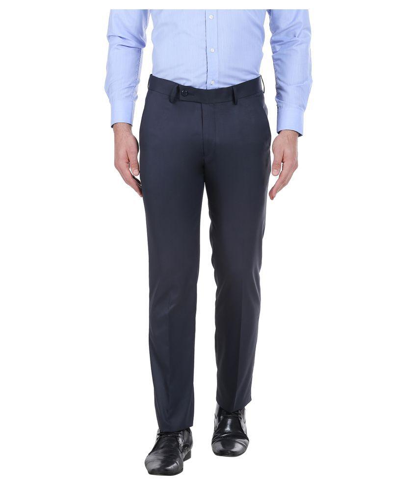 Solemio Navy Blue Slim Flat Trousers