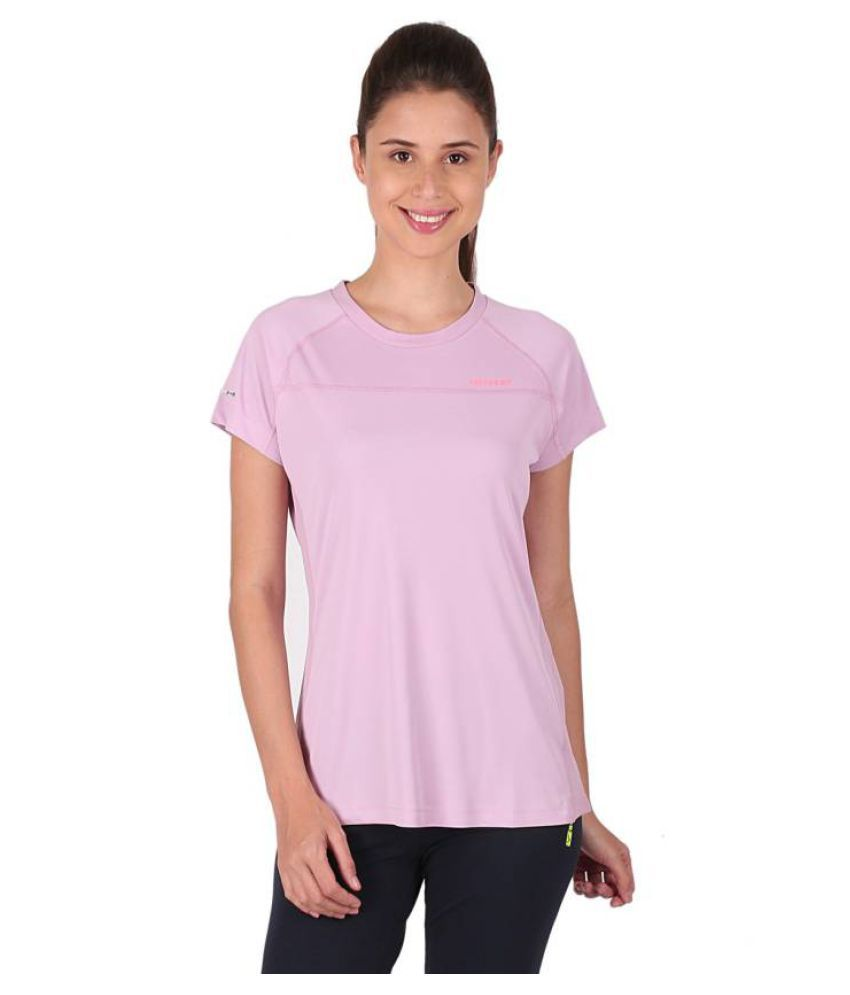 Vector X Solid Women's Round Neck Purple T-Shirt