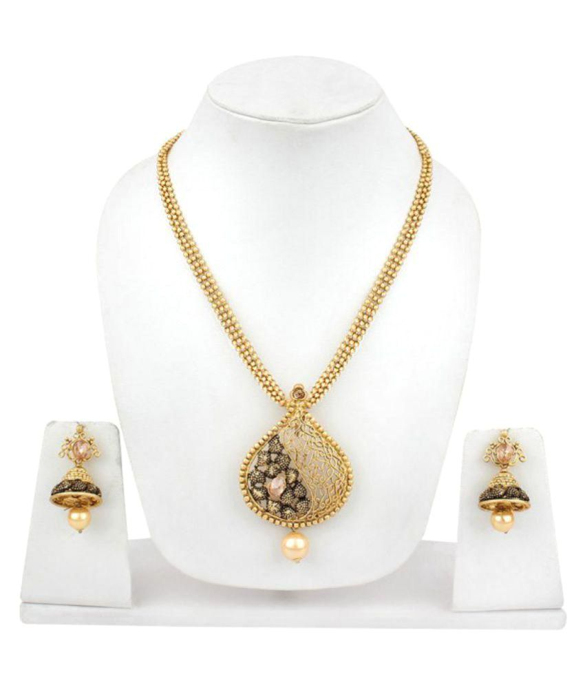 Jewels gehna designer gold plated antique lady pendant set buy jewels gehna designer gold plated antique lady pendant set aloadofball Images