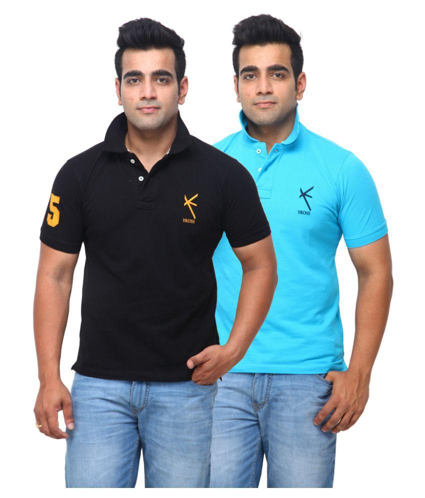 Yross Black Cotton Polo T-shirt Pack of 2