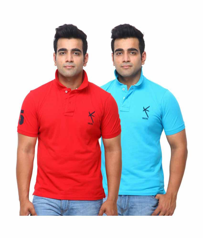 Yross Red Cotton Polo T-shirt Pack of 2