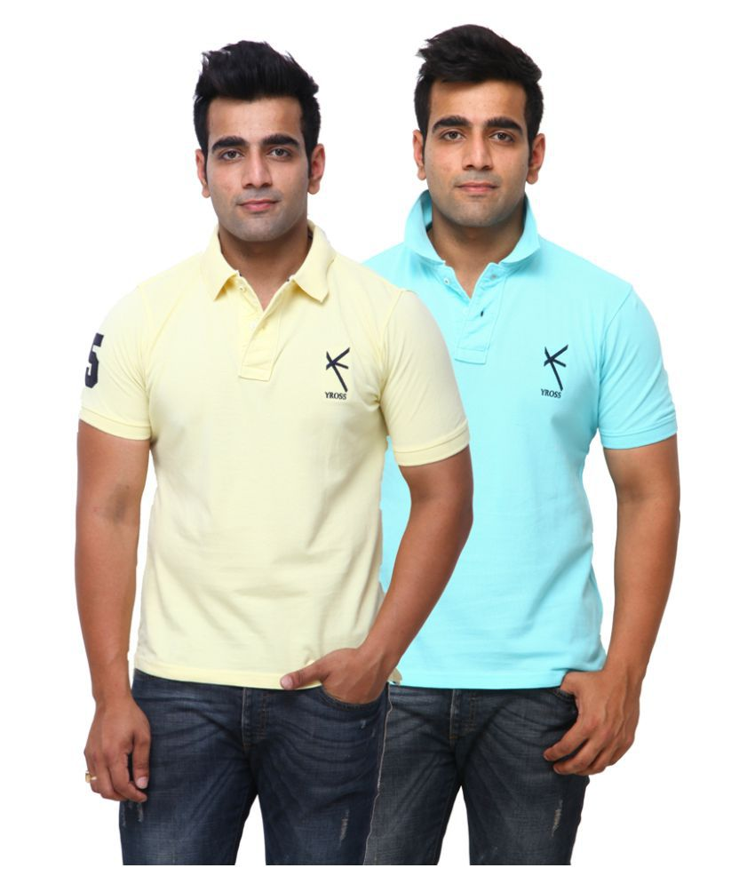 Yross Yellow Cotton Polo T-shirt Pack of 2