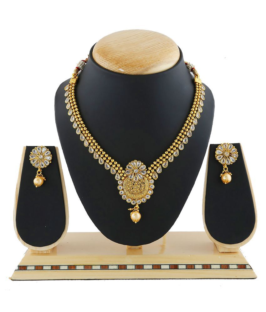 Anuradha Art Golden Finish Classy Party Wear Designer Traditional Necklace Set for Women and Girls