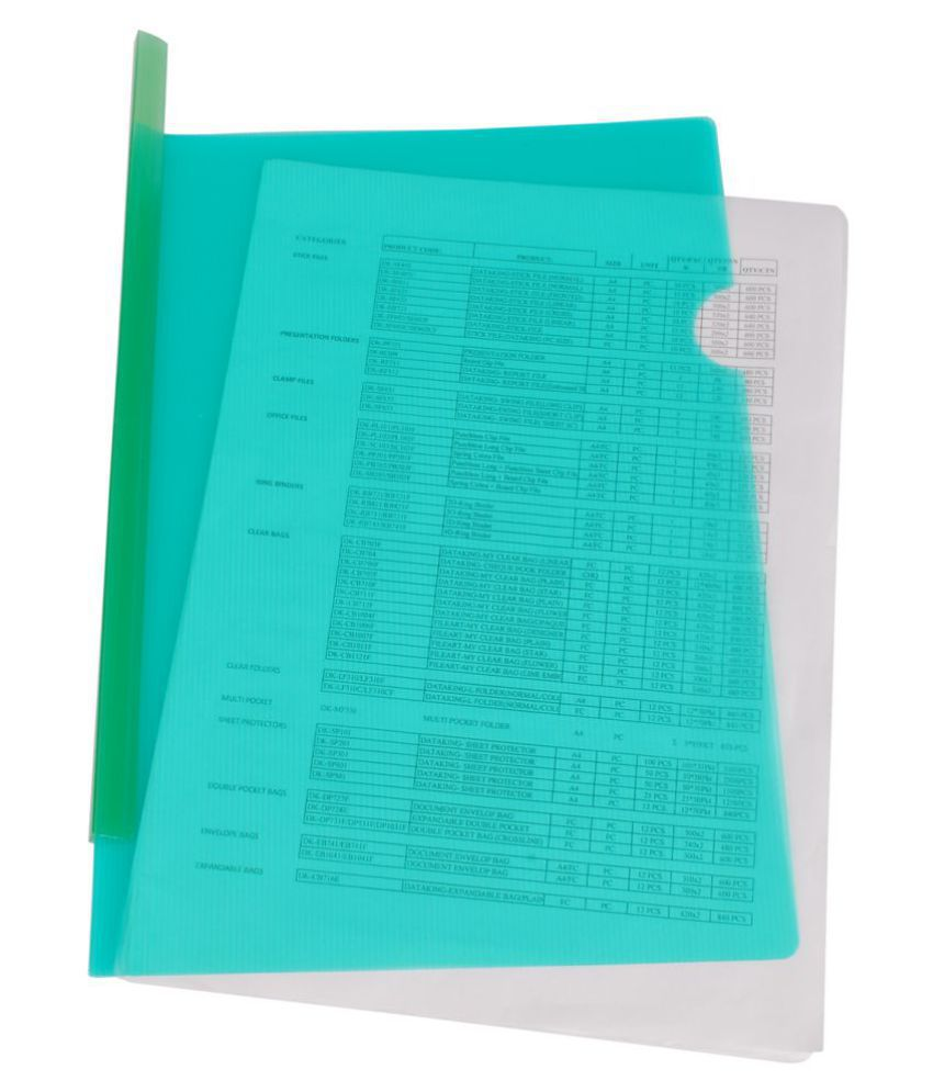 Dataking Polypropylene Stick File With Line Embossing, Size A4, Green , (Set Of 10)