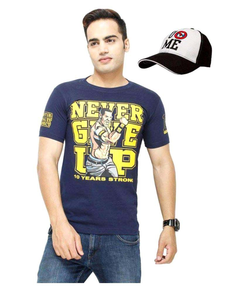 WWE Navy Round T-Shirt with Cap