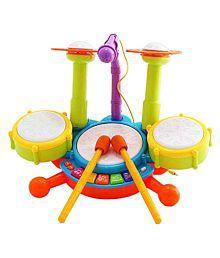 Latest Dynamic Fun Beats Jazz Musical Drum Set With MIC Toys Children