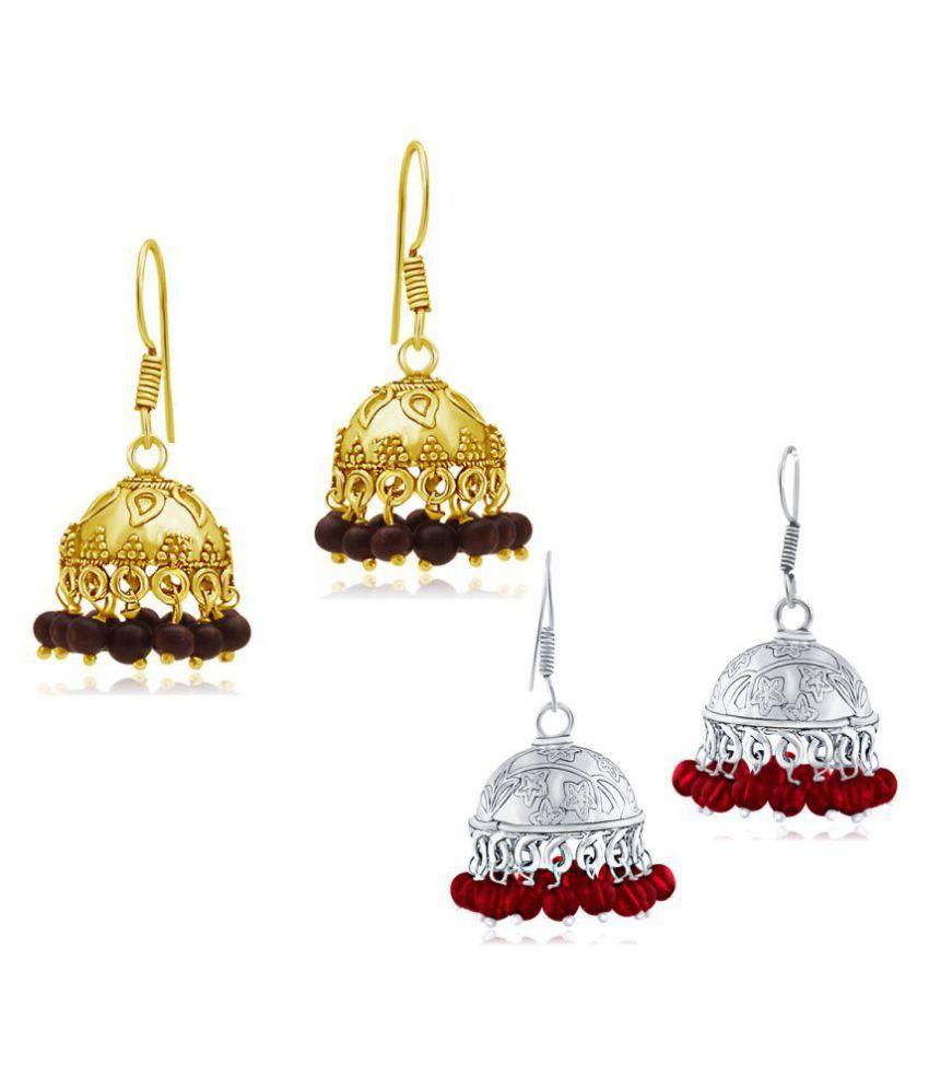 Spargz Combo of 2 Pair Bead Oxidized Long Jhumka Earrings Combo