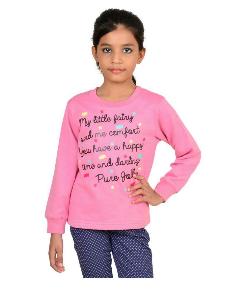 Wardtrobe Pink Color Printed Long Sleeve Sweatshirts