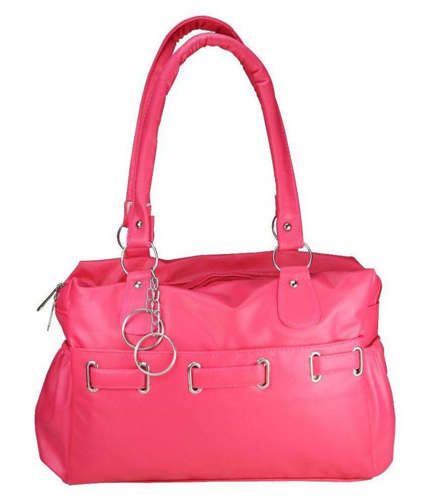 Crude Pink Faux Leather Shoulder Bag