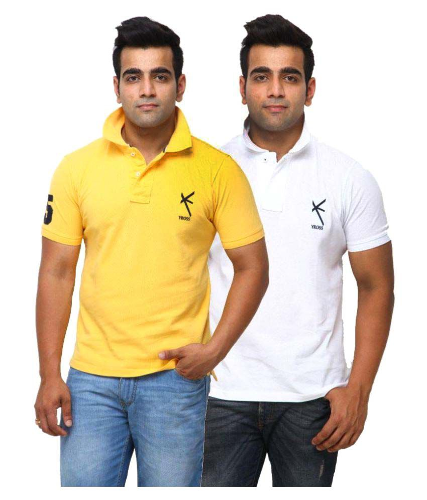 Yross Multi Cotton Polo T-shirt Pack of 2