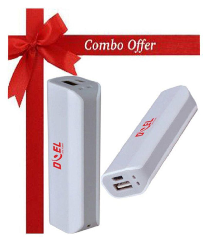 Doel Combo Pack - Doel Portable Lightweight Power Bank 2600mah Battery Backup Charger with Data Cable 2600 -mAh Li-Ion Power Bank Grey