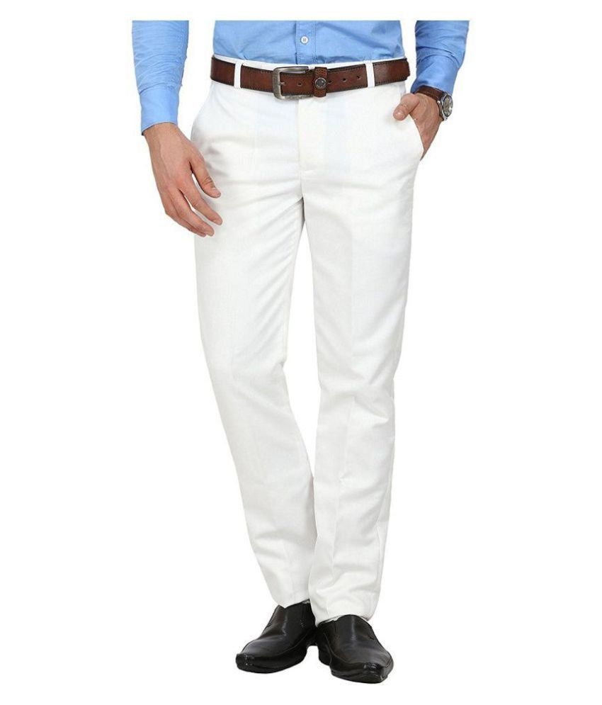 Kundan Sulz Gwalior Off White Regular Flat Trousers