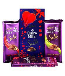 Cadbury Dairy Milk Silk Fruit & Nut, Roasted Almond, Plain Silk & Special Silk Valentine Pack Combo Chocolates, 674g