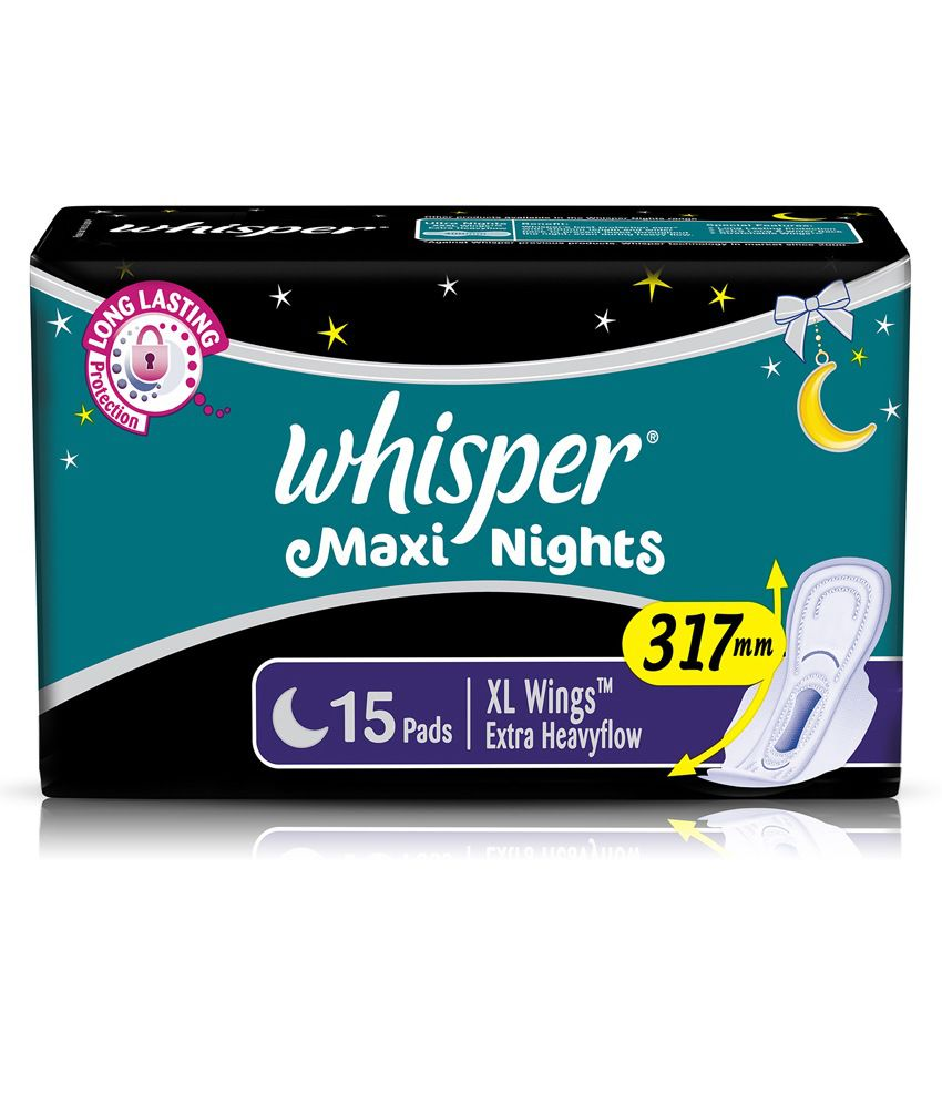 Whisper Maxi Overnight Sanitary Pads XL Wings 15 pc Pack