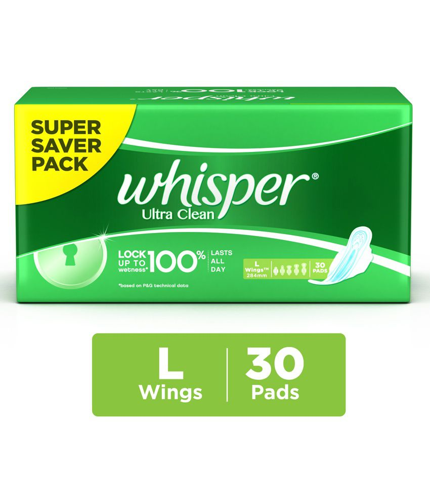 Whisper Ultra Clean L Sanitary Pads-30Pcs: Buy Whisper Ultra Clean L ...