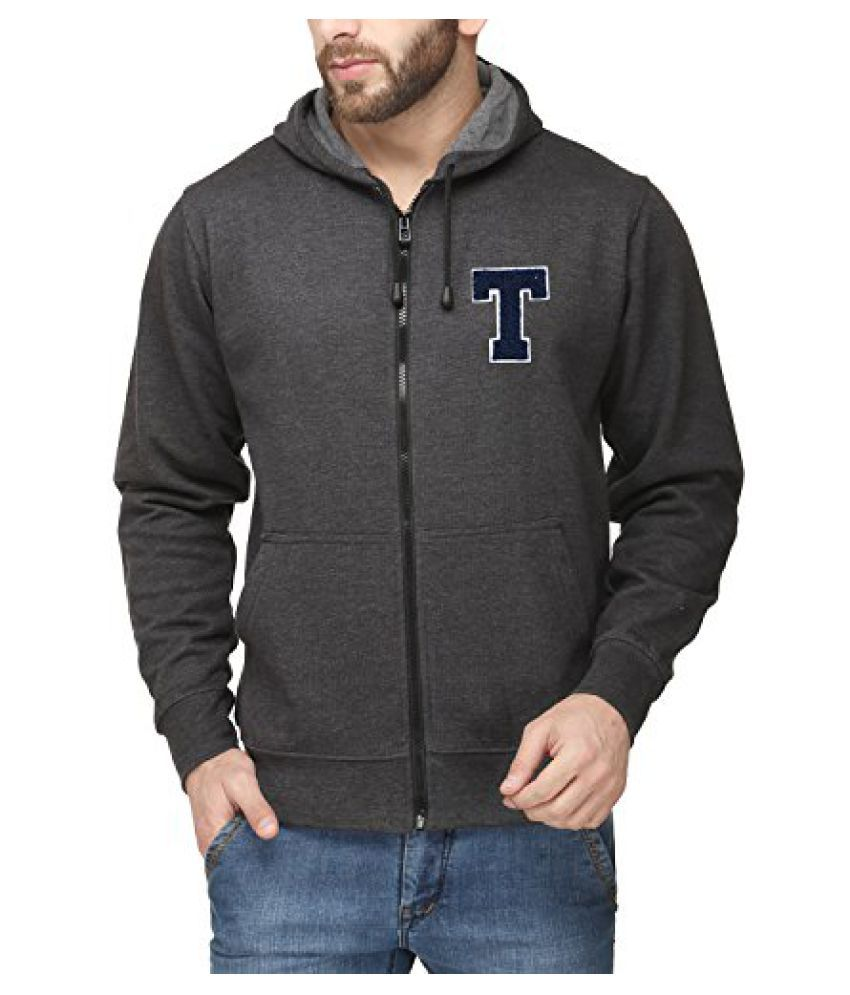 Scott Mens Premium Cotton Blend Pullover Hoodie Sweatshirt with Zip and Flocking Letter - Charcoal - TESSlZ1_XXL