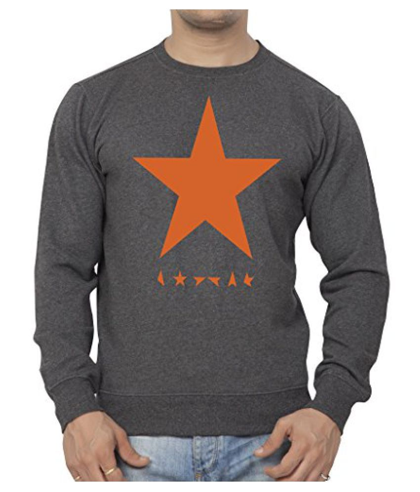 Clifton Mens Printed Cotton Sweat Shirt R-Neck-CharcolMelange-White Star