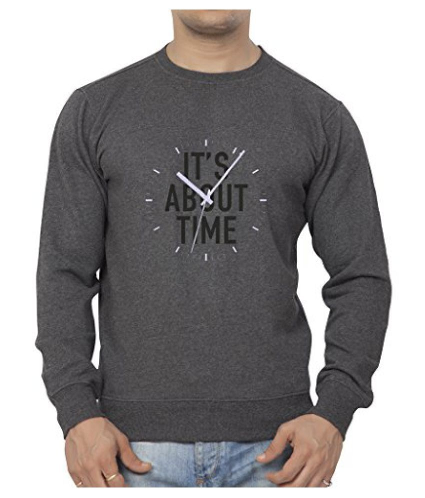 Clifton Mens Printed Cotton Sweat Shirt R-Neck-Charcoal Melange-Its About Time