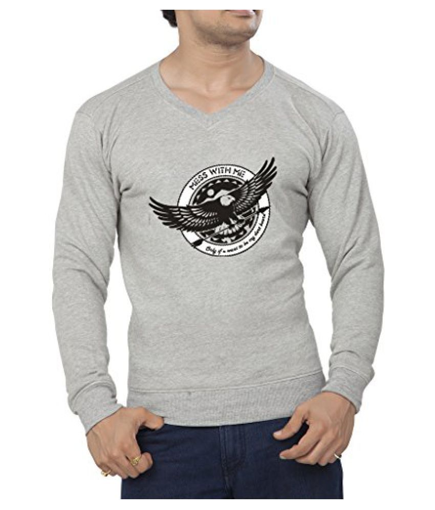 Clifton Mens Printed Cotton Sweat Shirt V-Neck-Grey Melange-Mess With Me