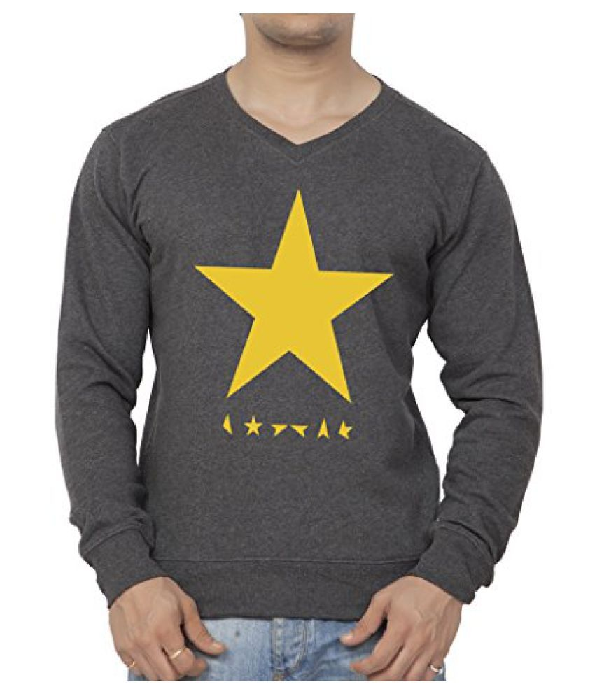 Clifton Mens Printed Cotton Sweat Shirt V-Neck-CharcolMelange-White Star