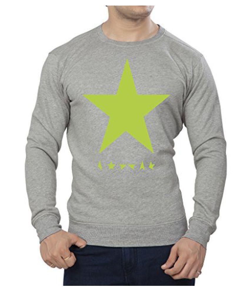 Clifton Mens Printed Cotton Sweat Shirt R-Neck-GreyMelange-Green Star