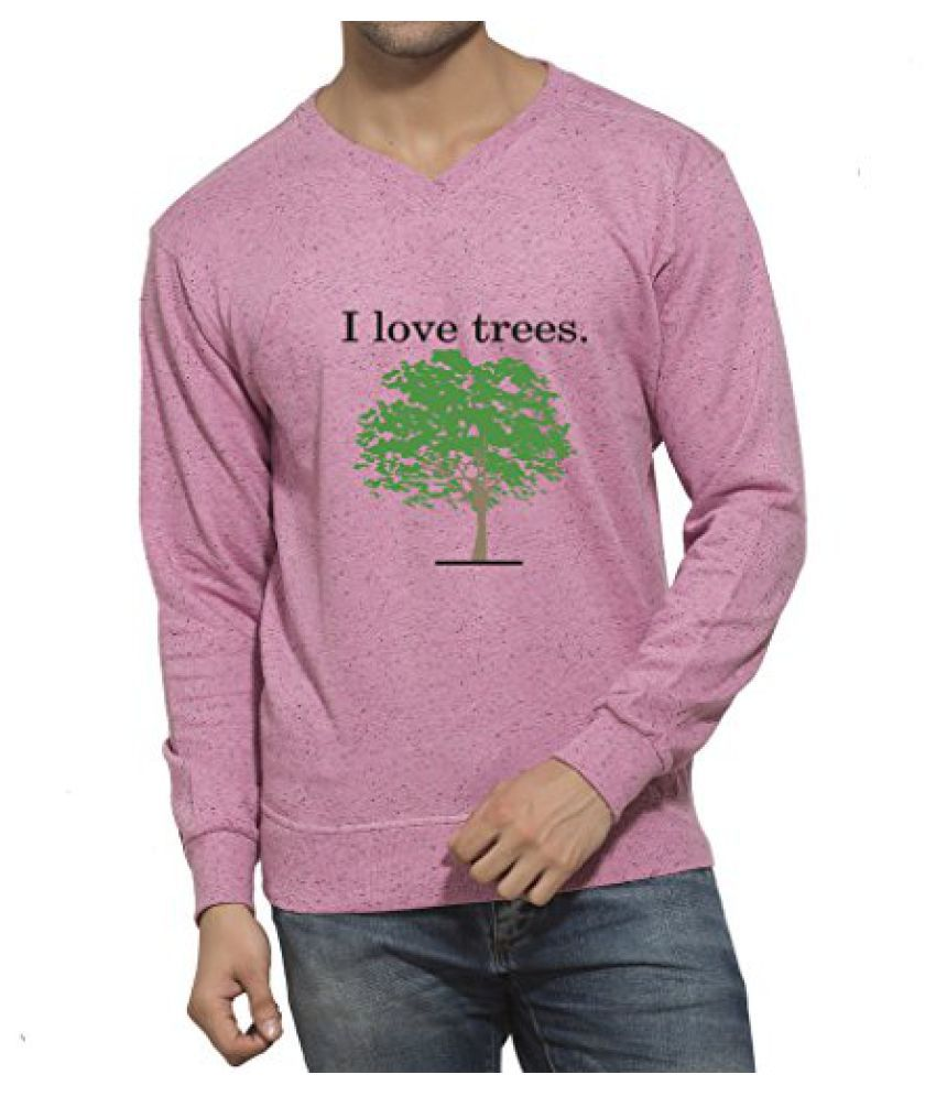 Clifton Mens Printed Neppy Melange Sweat Shirt V-Neck-Cool Pink-I Love Tree