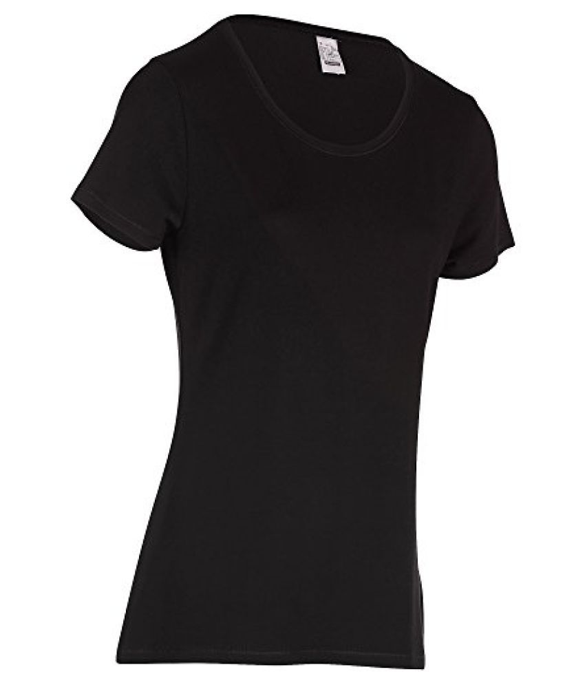 DOMYOS ACTIVE WOMENS SHORT-SLEEVED REGULAR-FIT FITNESS T-SHIRT - BLACK