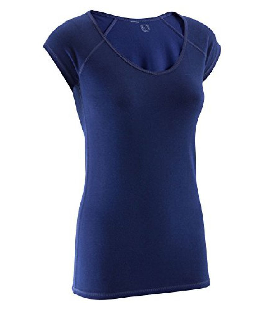 DOMYOS ACTIVE WOMENS SHORT-SLEEVED SLIM-FIT FITNESS T-SHIRT - NAVY BLUE
