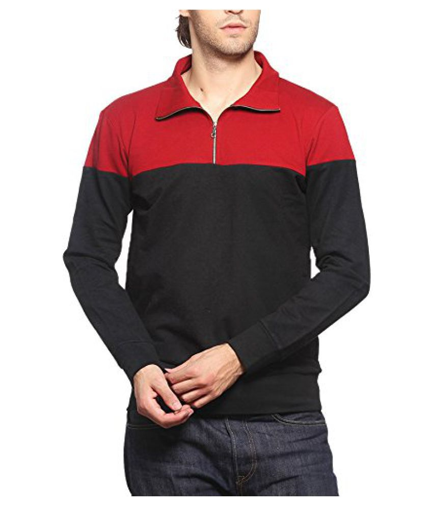 Gridstone Maroon/Black Zipper Sweatshirt-JKTMEHBK60113