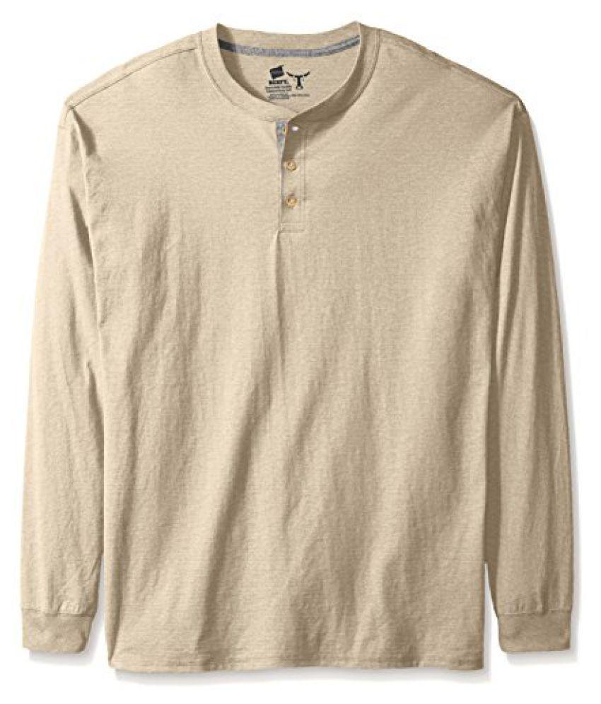 Hanes Mens Long-Sleeve Beefy Henley Shirt
