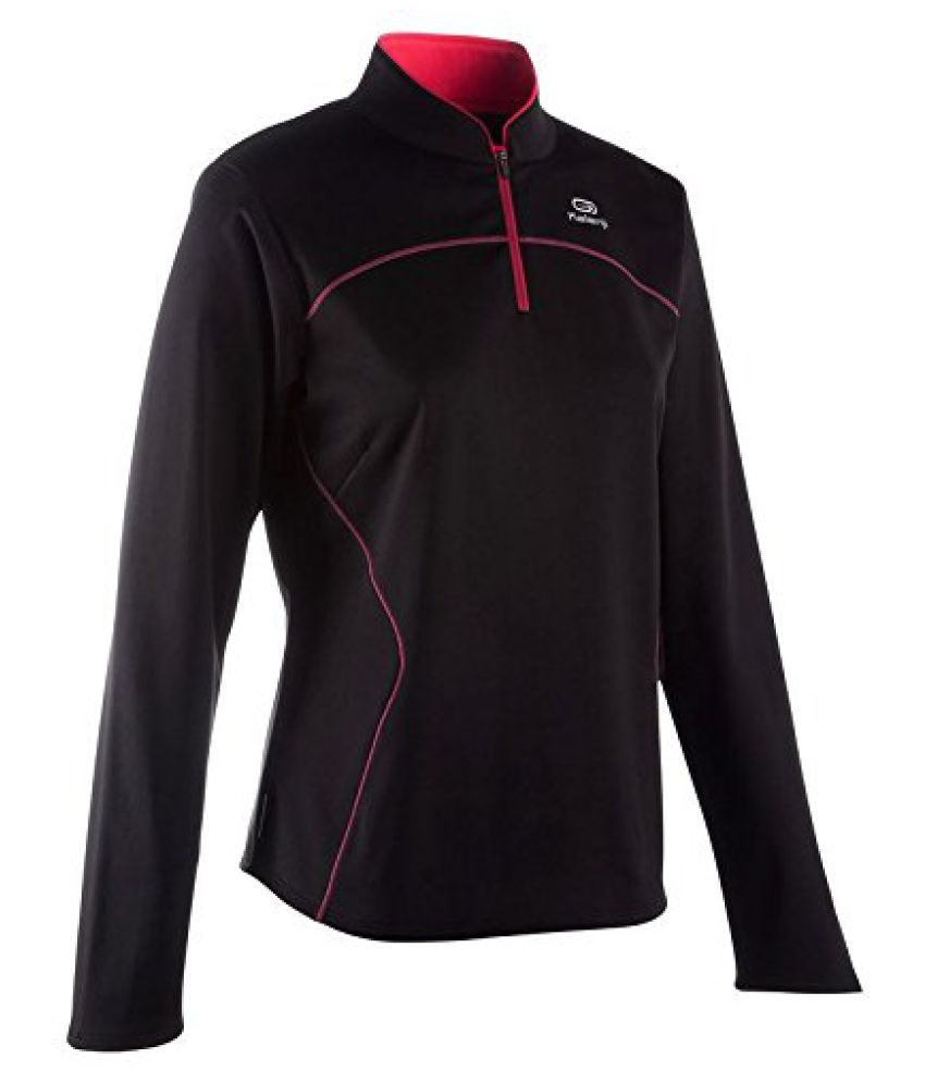 KALENJI EKIDEN WARM WOMEN'S LONG SLEEVE RUNNING JERSEY - BLACK/PINK