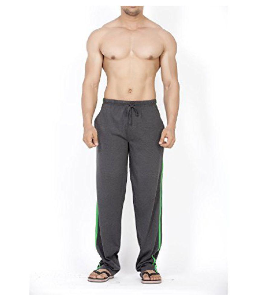 Mens Classical Striper Track Pant - Charcoal/Deep Green