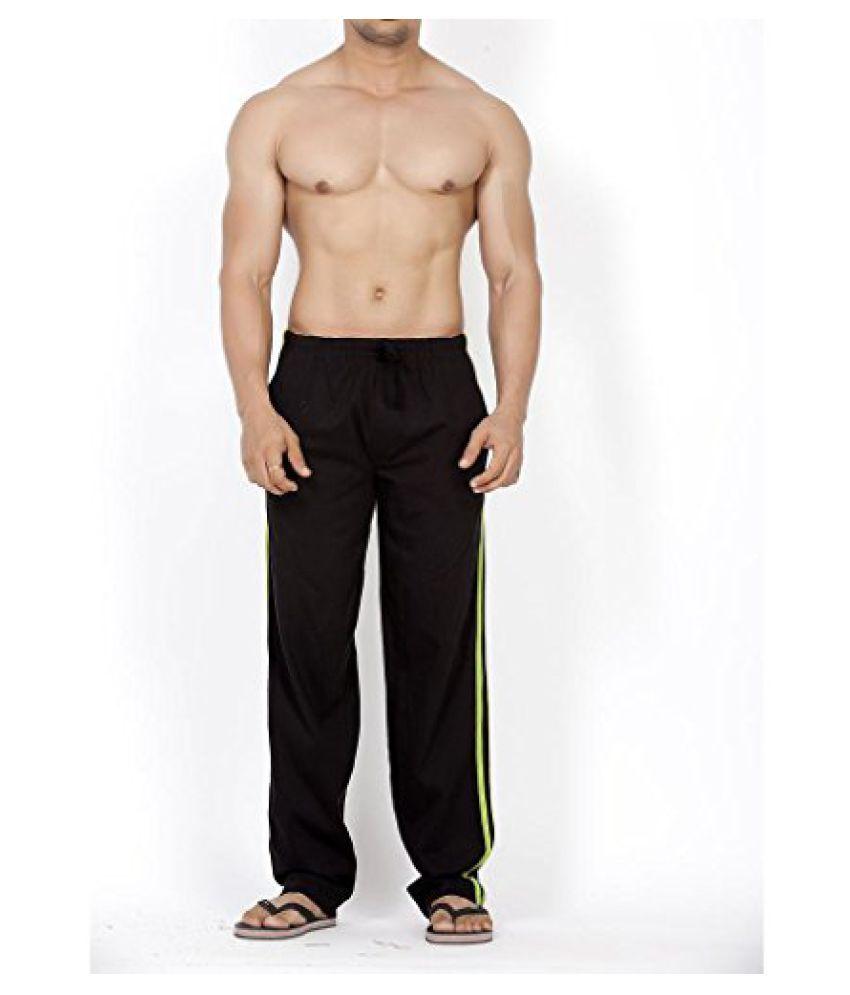 Mens Classical Striper Track Pant - Black/Parrot Green