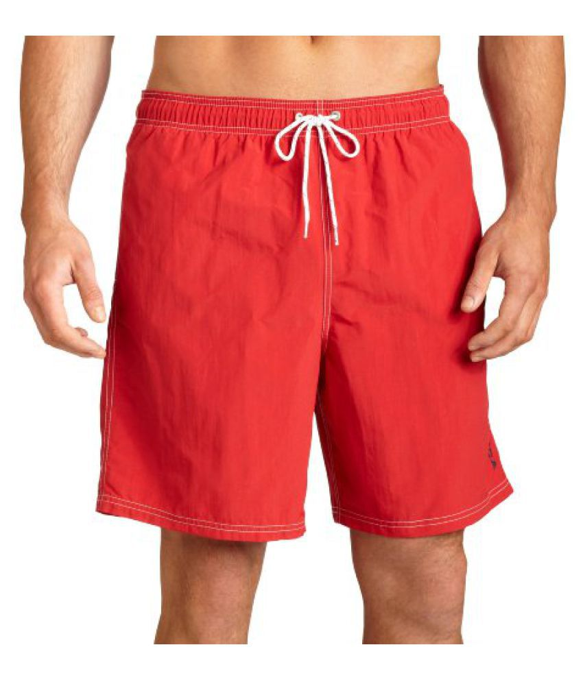 Nautica Men's Anchor Solid Racer Red Swimwear Trunks Shorts/ Swimming Costume