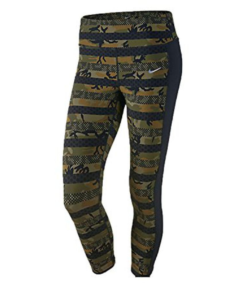 Nike Women's Dri-Fit Clash Epic Lux Running Crop Pants-Militia Green/Black