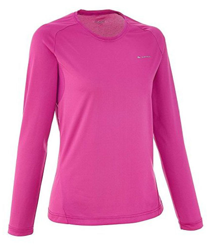 QUECHUA TECHFRESH 50 WOMEN'S TECHNICAL T-SHIRT - PURPLE, LONG SLEEVE