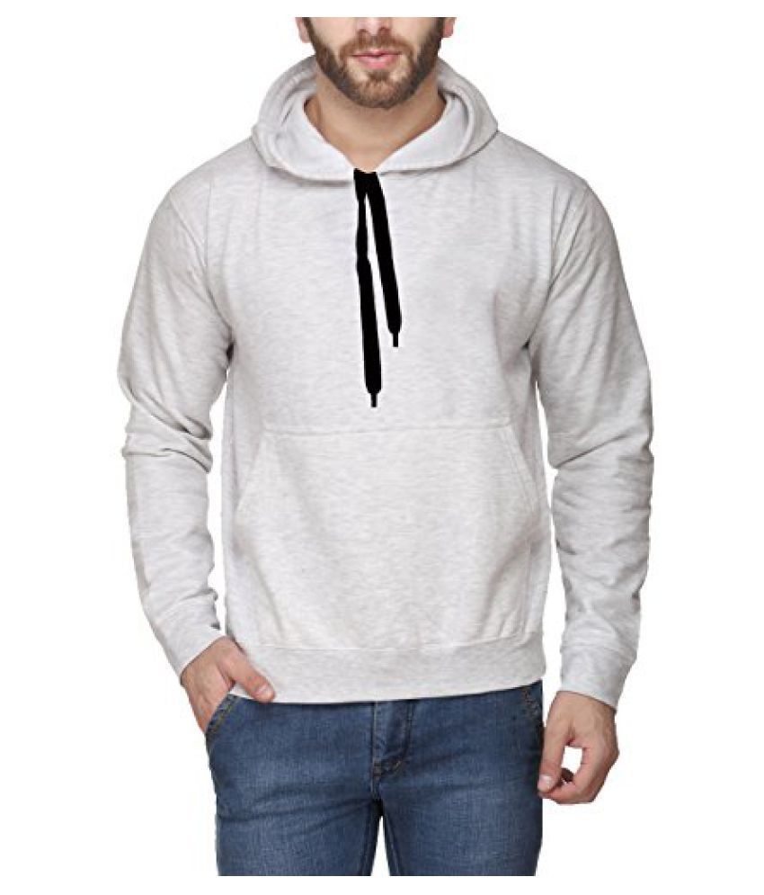 Scott International White Milange Cotton Mens Comfort Styled Hooded SweatShirt
