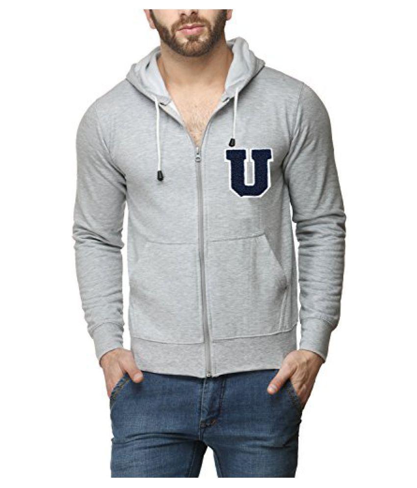 Scott Men's Premium Cotton Blend Pullover Hoodie Sweatshirt with Zip and Flocking Letter - Grey - UESSlZ3_XXL