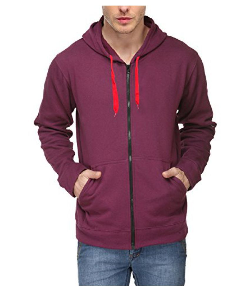 Scott Men's Premium Cotton Blend Pullover Hoodie Sweatshirt with Zip - Purple - 1.1_sslz10_XL